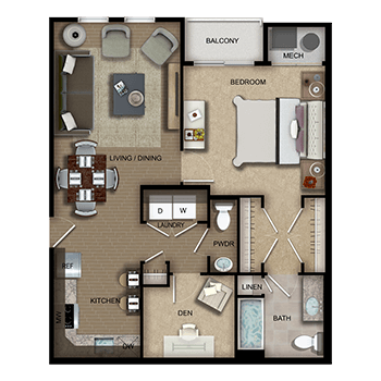 The Amsterdam Three and Four feature a living and dining room area; a kitchen; one bedroom with walk-in closet, private full bathroom, linen closet and a private outdoor balcony; a den; a half bathroom; a laundry room with washer and dryer; a closet; and a mechanical room.