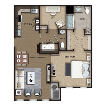 The Amsterdam Two features a living and dining room area; a kitchen; one bedroom with walk-in closet, private full bathroom and linen closet; a den; a half bathroom; a laundry room with washer and dryer; a closet; and a mechanical room.