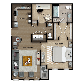 The Amsterdam One features a living and dining room area; a kitchen; one bedroom with walk-in closet, private full bathroom and linen closet; a den; a half bathroom; a laundry room with washer and dryer; a closet; and a mechanical room.
