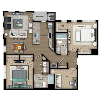 The Apollo Two features a living and dining room area, a private outdoor balcony, a kitchen, a master bedroom with two closets, a second bedroom with one walk-in closet and a second closet, two full bathrooms, a den, laundry room with a washer and dryer, a closet, and a mechanical room.