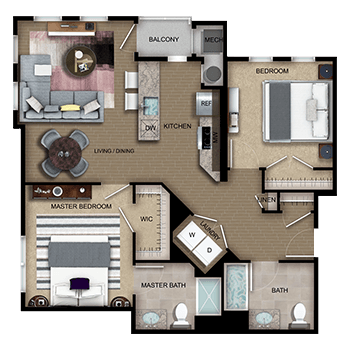 The Imperial Two features a living and dining room area, a private outdoor balcony, a kitchen, a master bedroom with a walk-in closet and full private master bathroom, a second bedroom with a closet, a second full bathroom, linen closet, laundry room with a washer and dryer, and a mechanical room.