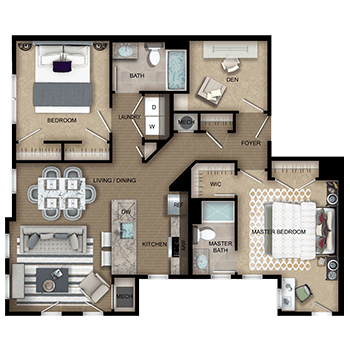2 bedrooms and den floor plans image