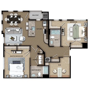 The Apollo Four features a living and dining room area, a private outdoor balcony, a kitchen, a master bedroom with two closets, a second bedroom with one walk-in closet and a second closet, two full bathrooms, a den, laundry room with a washer and dryer, a linen closet, a closet, and a mechanical room.