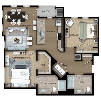The Imperial Four features a living and dining room area, a private outdoor balcony, a kitchen, a master bedroom with a walk-in closet and full private master bathroom, a second bedroom with a closet, a second full bathroom, laundry room with a washer and dryer, a closet, and a mechanical room.