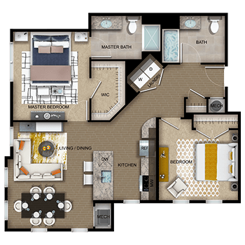 The Imperial Three features a living and dining room area, a kitchen, a master bedroom with a walk-in closet and full private master bathroom, a second bedroom with a closet, a second full bathroom, laundry room with a washer and dryer, a closet and a mechanical room.