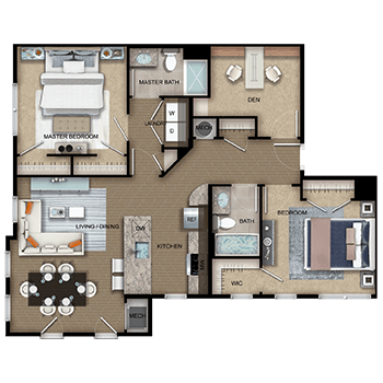 The Apollo Three features a living and dining room area, a kitchen, a master bedroom with two closets, a second bedroom with one walk-in closet and a second closet, two full bathrooms, a den, laundry room with a washer and dryer, a closet, and a mechanical room.