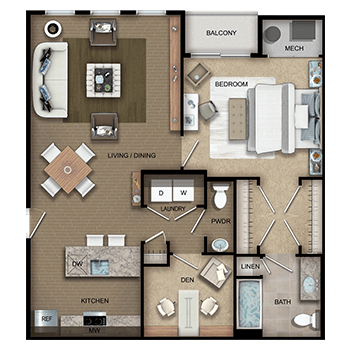 The Gershwin Two features a living and dining room area; a kitchen; one bedroom with walk-in closet, private full bathroom and linen closet; a den; a half bathroom; a laundry room with washer and dryer; a closet; and a mechanical room.