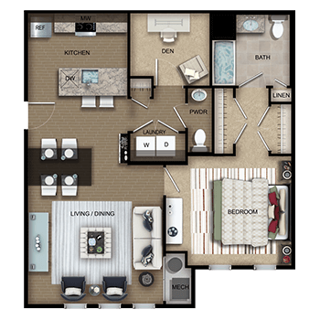 The Gershwin One features a living and dining room area; a kitchen; one bedroom with walk-in closet, private full bathroom and linen closet; a den; a half bathroom; a laundry room with washer and dryer; a closet; and a mechanical room.